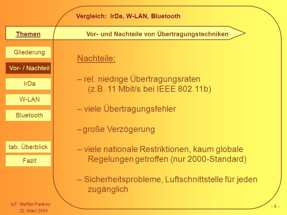 Vergleich: IrDa, W-LAN, Bluetooth Themen IuT: Steffen Pankow 22. März 2004 Gliederung IrDa W-LAN Bluetooth Vor- / Nachteil Fazit tab. Überblick - 4. -