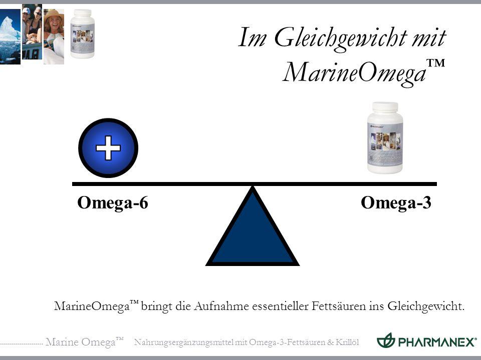 Marine Omega Nahrungsergänzungsmittel mit Omega-3-Fettsäuren & Krillöl Im Gleichgewicht mit MarineOmega Omega-6Omega-3 MarineOmega bringt die Aufnahme essentieller Fettsäuren ins Gleichgewicht.