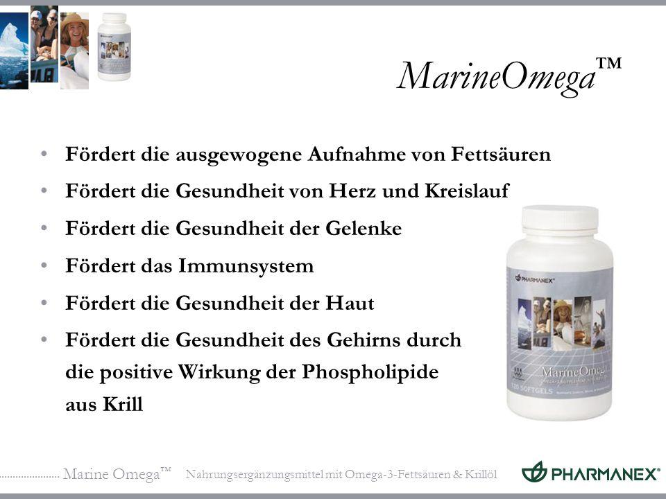 Marine Omega Nahrungsergänzungsmittel mit Omega-3-Fettsäuren & Krillöl MarineOmega Fördert die ausgewogene Aufnahme von Fettsäuren Fördert die Gesundh