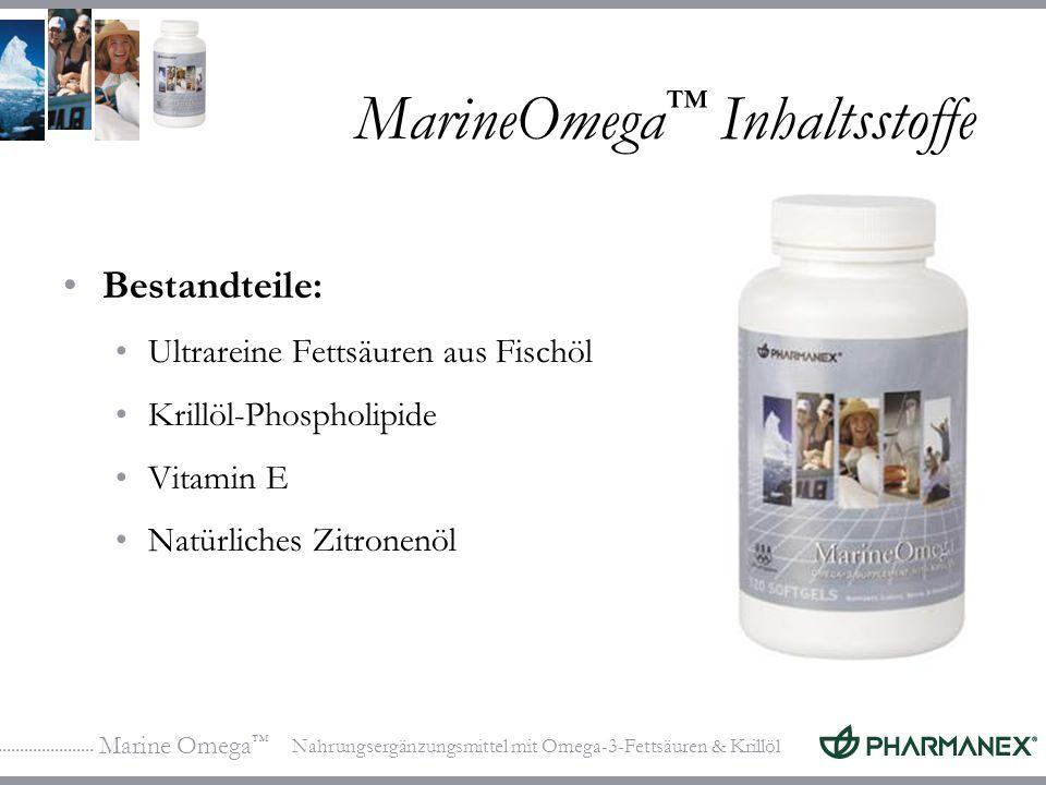 Marine Omega Nahrungsergänzungsmittel mit Omega-3-Fettsäuren & Krillöl MarineOmega Inhaltsstoffe Bestandteile: Ultrareine Fettsäuren aus Fischöl Krillöl-Phospholipide Vitamin E Natürliches Zitronenöl