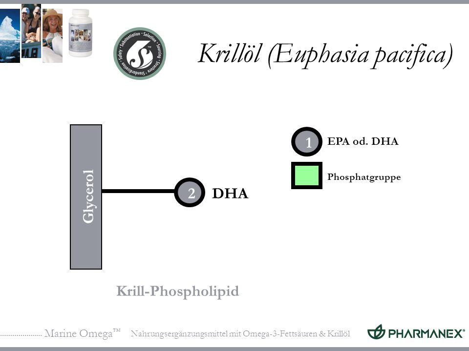 Marine Omega Nahrungsergänzungsmittel mit Omega-3-Fettsäuren & Krillöl Krillöl (Euphasia pacifica) DHA Krill-Phospholipid Phosphatgruppe Glycerol 1 2 EPA od.