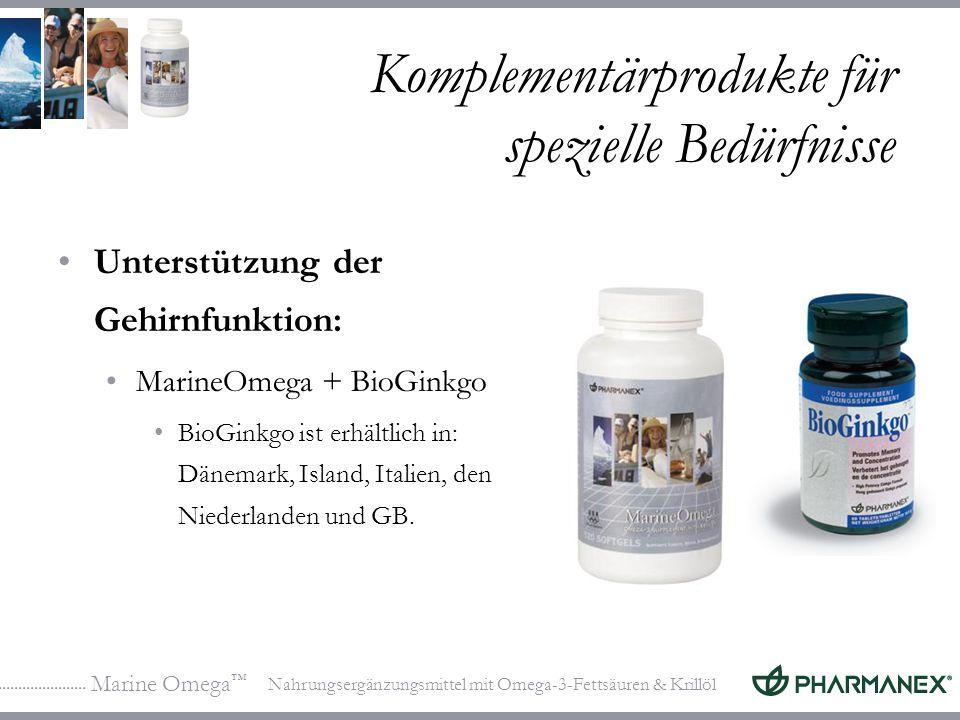 Marine Omega Nahrungsergänzungsmittel mit Omega-3-Fettsäuren & Krillöl Komplementärprodukte für spezielle Bedürfnisse Unterstützung der Gehirnfunktion: MarineOmega + BioGinkgo BioGinkgo ist erhältlich in: Dänemark, Island, Italien, den Niederlanden und GB.