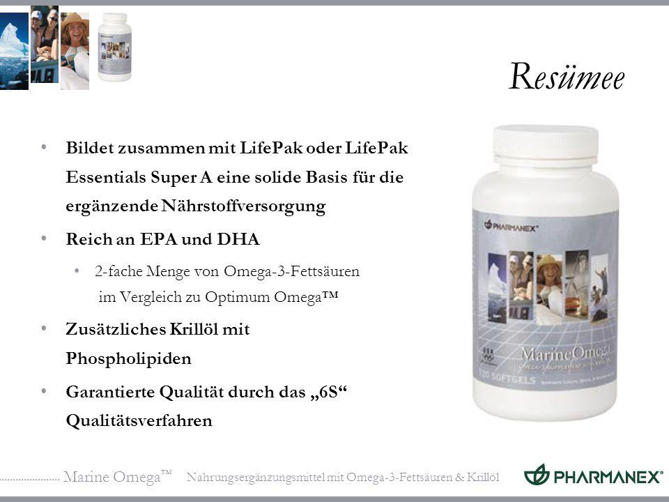 Marine Omega Nahrungsergänzungsmittel mit Omega-3-Fettsäuren & Krillöl Resümee Bildet zusammen mit LifePak oder LifePak Essentials Super A eine solide