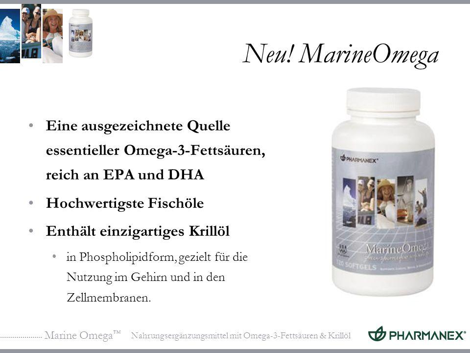 Marine Omega Nahrungsergänzungsmittel mit Omega-3-Fettsäuren & Krillöl Neu! MarineOmega Eine ausgezeichnete Quelle essentieller Omega-3-Fettsäuren, re