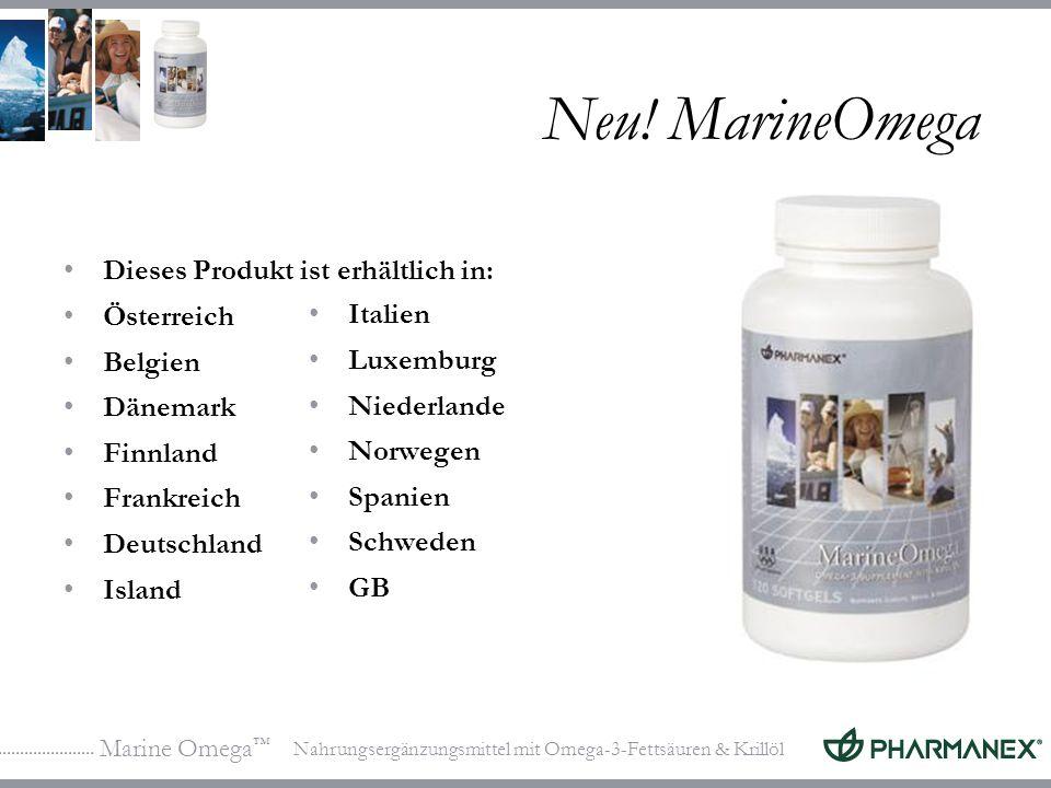 Marine Omega Nahrungsergänzungsmittel mit Omega-3-Fettsäuren & Krillöl Neu! MarineOmega Dieses Produkt ist erhältlich in: Österreich Belgien Dänemark