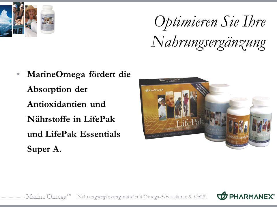 Marine Omega Nahrungsergänzungsmittel mit Omega-3-Fettsäuren & Krillöl Optimieren Sie Ihre Nahrungsergänzung MarineOmega fördert die Absorption der Antioxidantien und Nährstoffe in LifePak und LifePak Essentials Super A.
