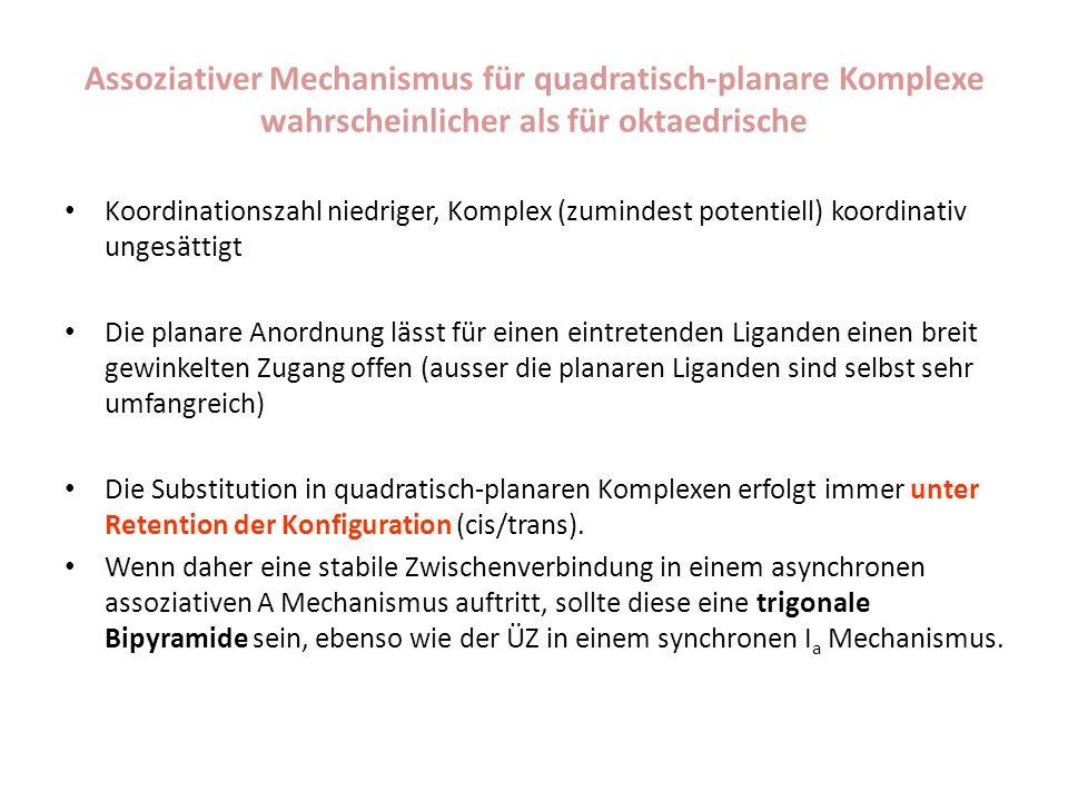 Assoziativer Mechanismus für quadratisch-planare Komplexe wahrscheinlicher als für oktaedrische Koordinationszahl niedriger, Komplex (zumindest potent