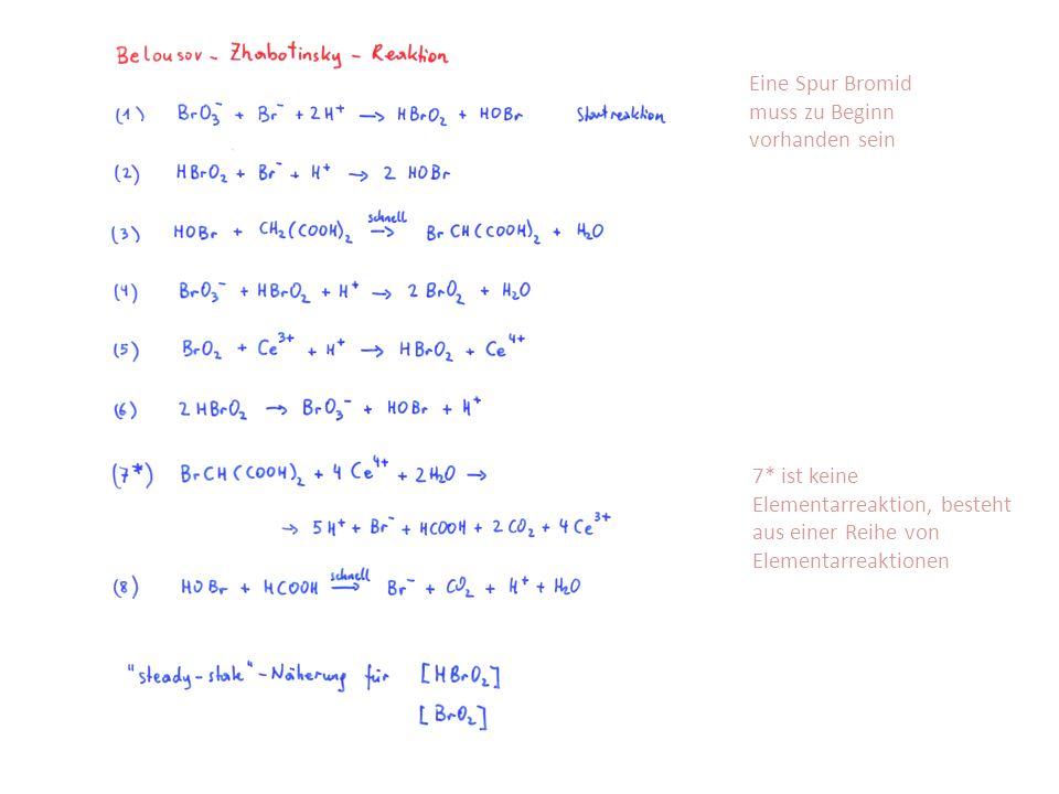 Eine Spur Bromid muss zu Beginn vorhanden sein 7* ist keine Elementarreaktion, besteht aus einer Reihe von Elementarreaktionen