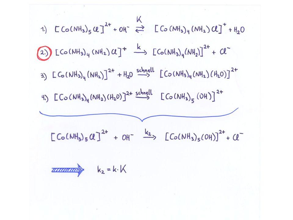 Stereochemie der oktaedrischen Substitution Die normale oktaedrische Substitution erfolgt unter Retention der Konfiguration Dies deutet darauf hin, dass die normale fünffach koordinierte Zwischenverbindung eine tetragonal pyramidale Struktur beibehält (quadratische Pyramide) Nur in Ausnahmefällen ist der Substitutionsvorgang von einer stereochemischen Umwandlung begleitet, z.B.