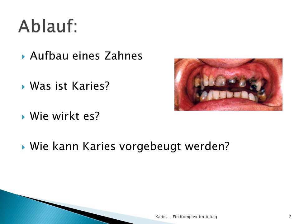 Zahnschmelz (Apatit): Ca 5 (PO 4 )3(OH,Cl,F) Zahnbein wird durch Zahnschmelz geschützt Karies - Ein Komplex im Alltag3