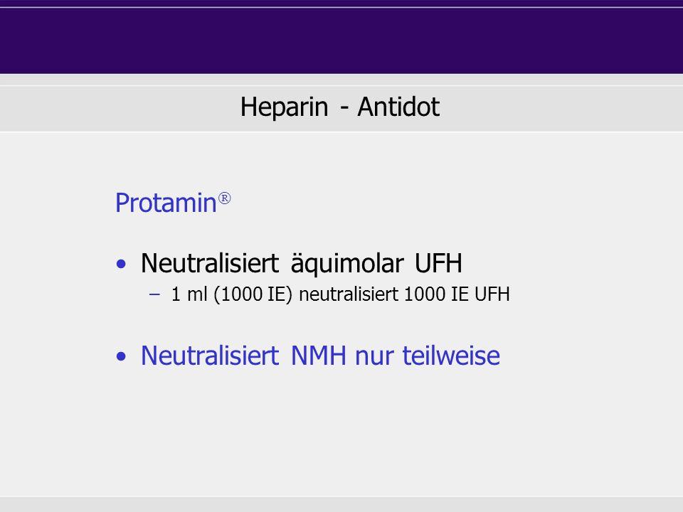 Protamin Neutralisiert äquimolar UFH –1 ml (1000 IE) neutralisiert 1000 IE UFH Neutralisiert NMH nur teilweise Heparin - Antidot