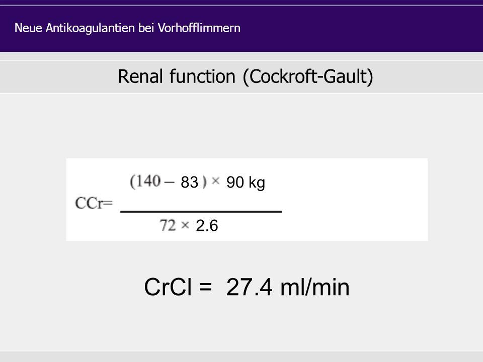 Renal function (Cockroft-Gault) Neue Antikoagulantien bei Vorhofflimmern 8390 kg 2.6 CrCl = 27.4 ml/min