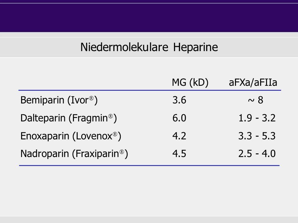 MG (kD)aFXa/aFIIa Bemiparin (Ivor ) 3.6 ~ 8 Dalteparin (Fragmin ) 6.0 1.9 - 3.2 Enoxaparin (Lovenox ) 4.2 3.3 - 5.3 Nadroparin (Fraxiparin ) 4.5 2.5 -