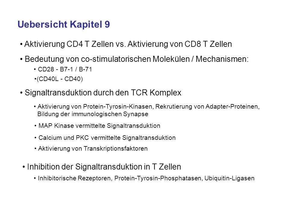 Allgemeine Uebersicht über die T Zell Aktivierung (siehe auch Kapitel 6) CCR7-vermittelte Migration von naiven T Zellen und DC in Lymphknoten DC: nehmen in der Peripherie Antigene auf; falls Antigen mikrobieller Art Reifung (B7 ) naive T Zellen: kontinuierliche Zirkulation durch sekundäre lymphoide Organe B7-CD28 Interaktion (Co-Stimulation / Signal 2) für Aktivierung von naiven T Zellen erforderlich