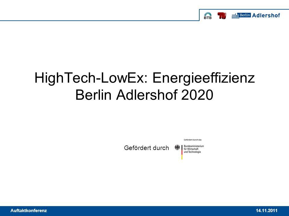 14.11.2011Auftaktkonferenz HighTech-LowEx: Energieeffizienz Berlin Adlershof 2020 Gefördert durch