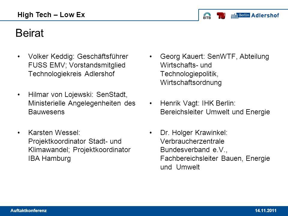14.11.2011Auftaktkonferenz High Tech – Low Ex Beirat Volker Keddig: Geschäftsführer FUSS EMV; Vorstandsmitglied Technologiekreis Adlershof Hilmar von