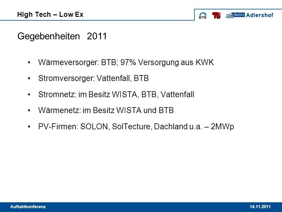14.11.2011Auftaktkonferenz Wärmeversorger: BTB; 97% Versorgung aus KWK Stromversorger: Vattenfall, BTB Stromnetz: im Besitz WISTA, BTB, Vattenfall Wär
