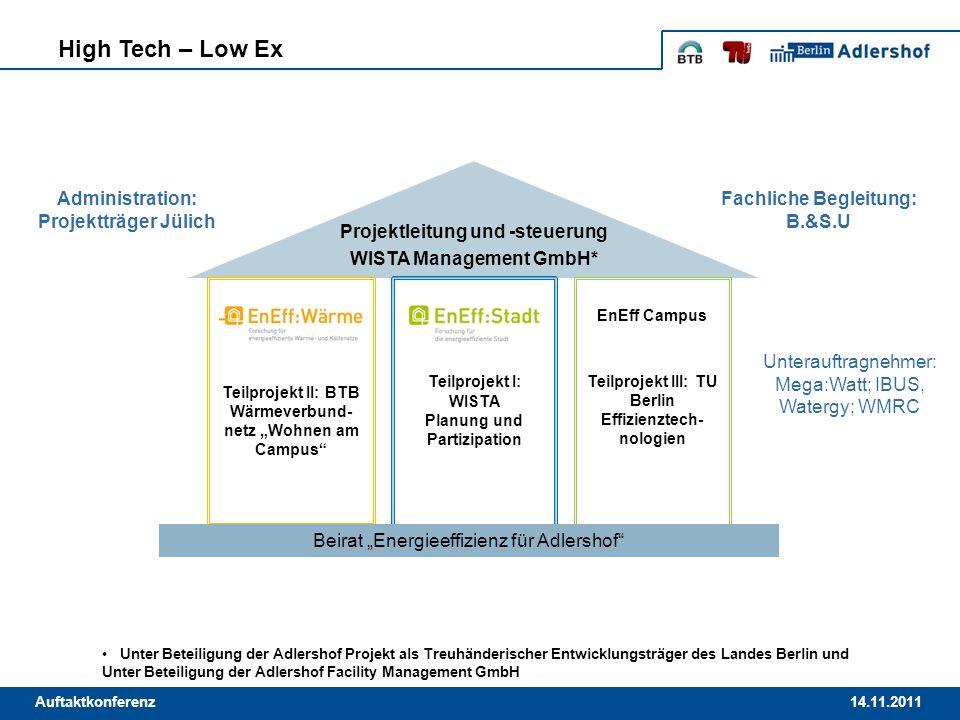 14.11.2011Auftaktkonferenz High Tech – Low Ex Projektleitung und -steuerung WISTA Management GmbH* Teilprojekt I: WISTA Planung und Partizipation EnEf