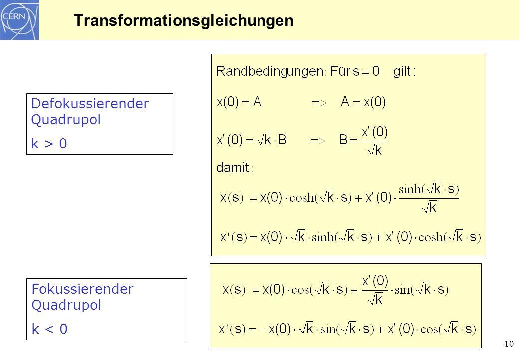 10 Transformationsgleichungen Defokussierender Quadrupol k > 0 Fokussierender Quadrupol k < 0
