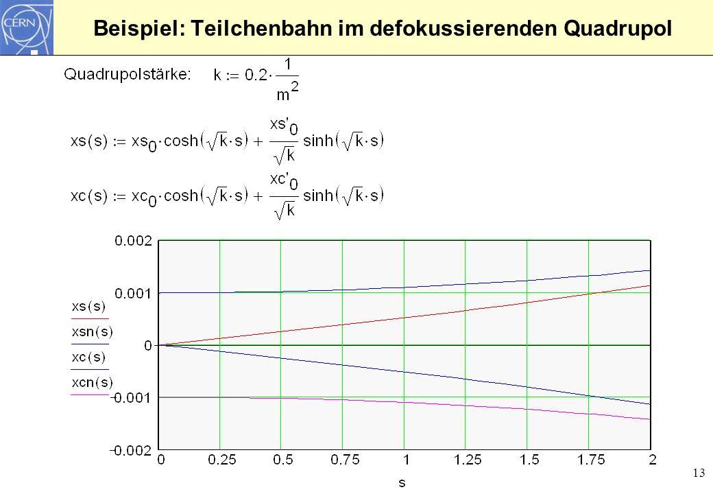 13 Beispiel: Teilchenbahn im defokussierenden Quadrupol