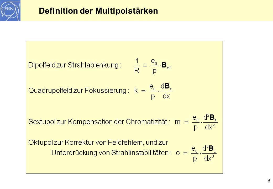 7 Rechteckmodel für einen Quadrupolmagnet s z s k(s) k0k0 0 Quadrupolmagnet mit k = k 0 innerhalb des Magneten, und k = 0 ausserhalb
