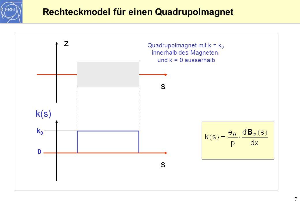 18 Teilchentransport durch eine komplexe Struktur: F0D0 Zelle l D =2.60 m l q =0.40 m QFQDQFDipol F0D0 Zelle MQ F MQ D MQ F MQ D MDMD MDMD l D =2.60 m l q =0.20 m