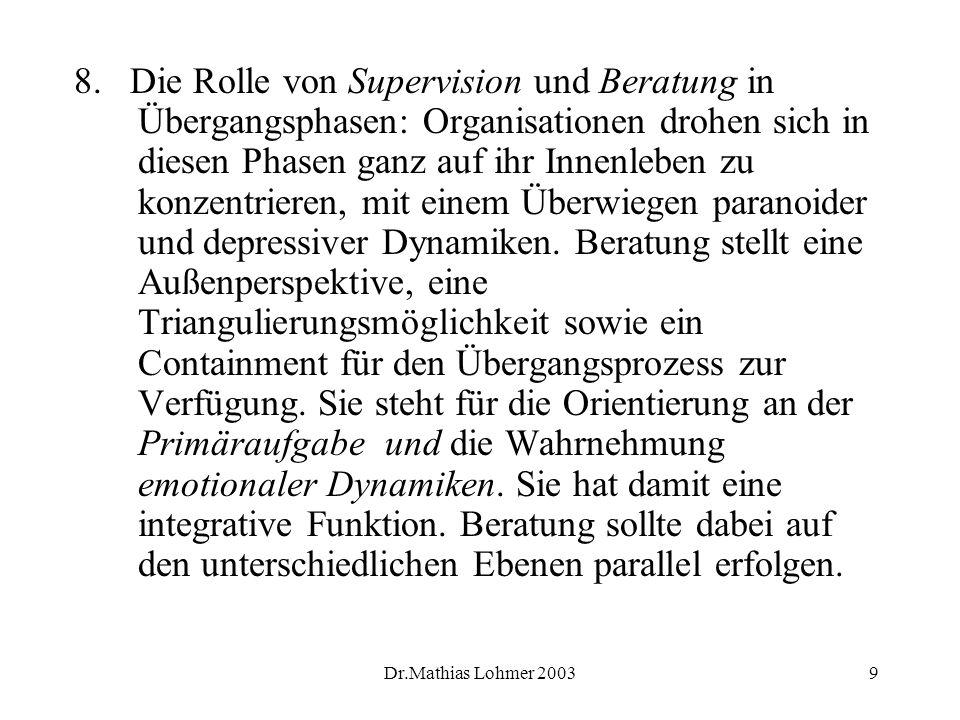 Dr.Mathias Lohmer 20039 8. Die Rolle von Supervision und Beratung in Übergangsphasen: Organisationen drohen sich in diesen Phasen ganz auf ihr Innenle