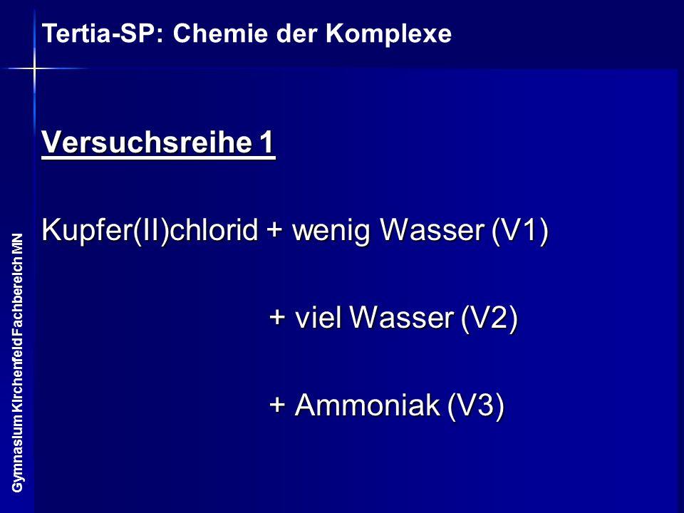Tertia-SP: Chemie der Komplexe Gymnasium Kirchenfeld Fachbereich MN Versuchsreihe 1 Kupfer(II)chlorid + wenig Wasser (V1) + viel Wasser (V2) + viel Wa