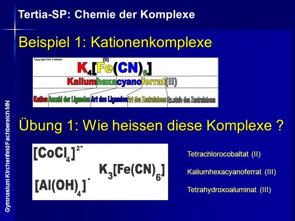 Tertia-SP: Chemie der Komplexe Gymnasium Kirchenfeld Fachbereich MN Beispiel 1: Kationenkomplexe Übung 1: Wie heissen diese Komplexe ? Tetrachlorocoba