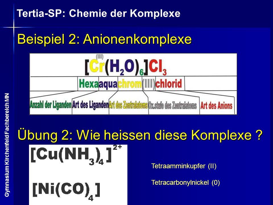 Tertia-SP: Chemie der Komplexe Gymnasium Kirchenfeld Fachbereich MN Beispiel 2: Anionenkomplexe Übung 2: Wie heissen diese Komplexe ? Tetraamminkupfer