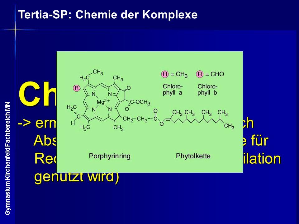 Tertia-SP: Chemie der Komplexe Gymnasium Kirchenfeld Fachbereich MN Chlorophyll a -> ermöglicht Photosynthese (durch Absorption von Lichtenergie, die
