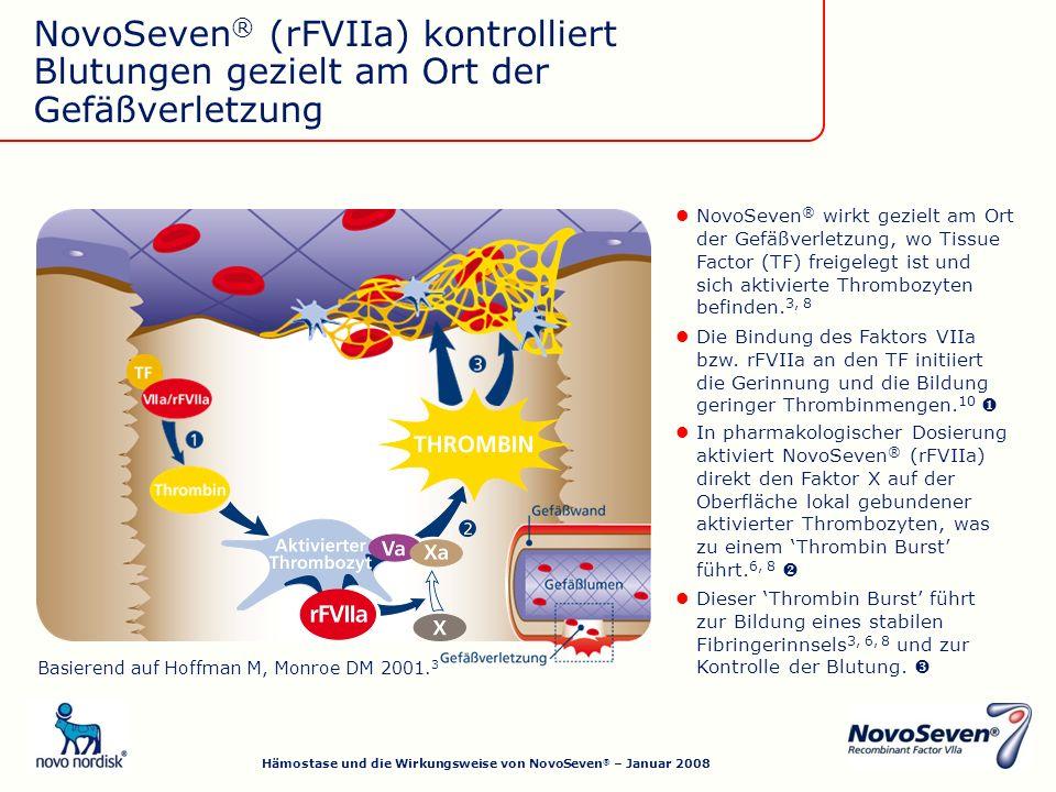 Dieser Thrombin Burst führt zur Bildung eines stabilen Fibringerinnsels 3, 6, 8 und zur Kontrolle der Blutung.