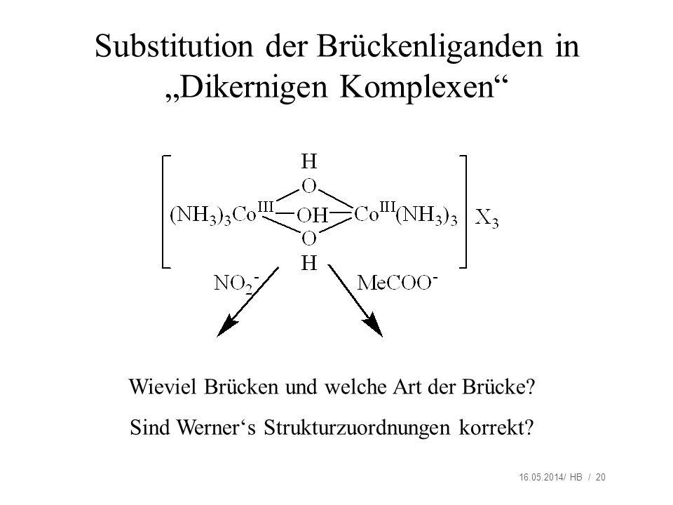 16.05.2014/ HB / 20 Substitution der Brückenliganden in Dikernigen Komplexen Wieviel Brücken und welche Art der Brücke? Sind Werners Strukturzuordnung