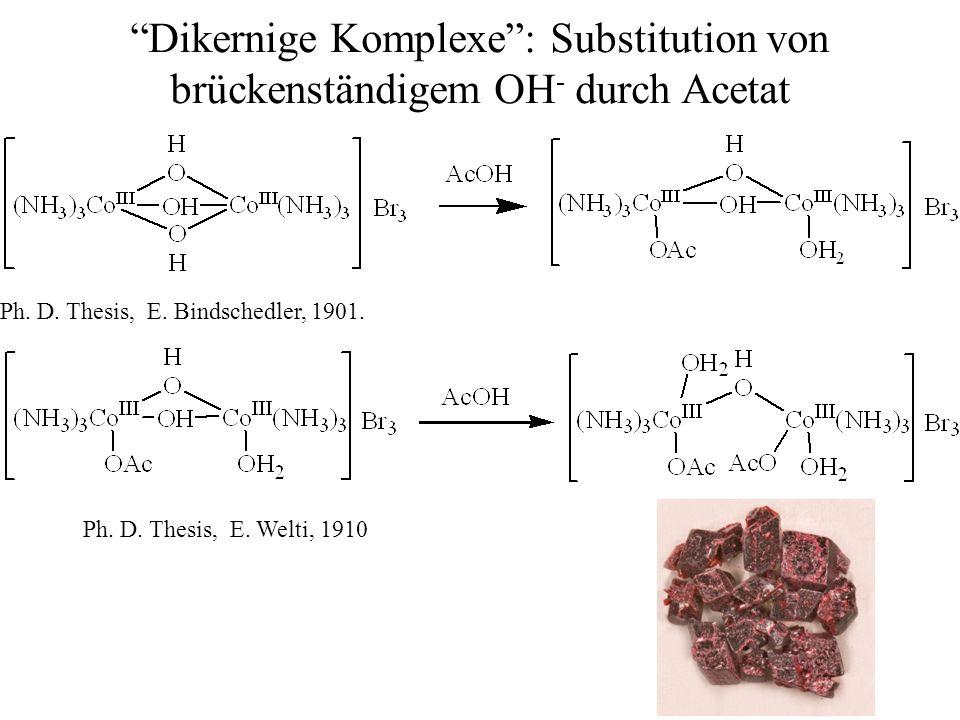 16.05.2014/ HB / 21 Dikernige Komplexe: Substitution von brückenständigem OH - durch Acetat Ph. D. Thesis, E. Welti, 1910 Ph. D. Thesis, E. Bindschedl