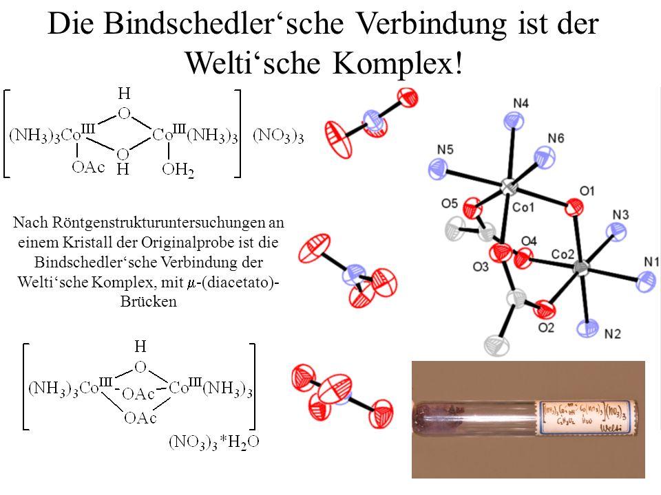 16.05.2014/ HB / 22 Die Bindschedlersche Verbindung ist der Weltische Komplex! Nach Röntgenstrukturuntersuchungen an einem Kristall der Originalprobe