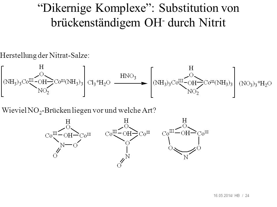 16.05.2014/ HB / 24 Dikernige Komplexe: Substitution von brückenständigem OH - durch Nitrit Wieviel NO 2 -Brücken liegen vor und welche Art? Herstellu