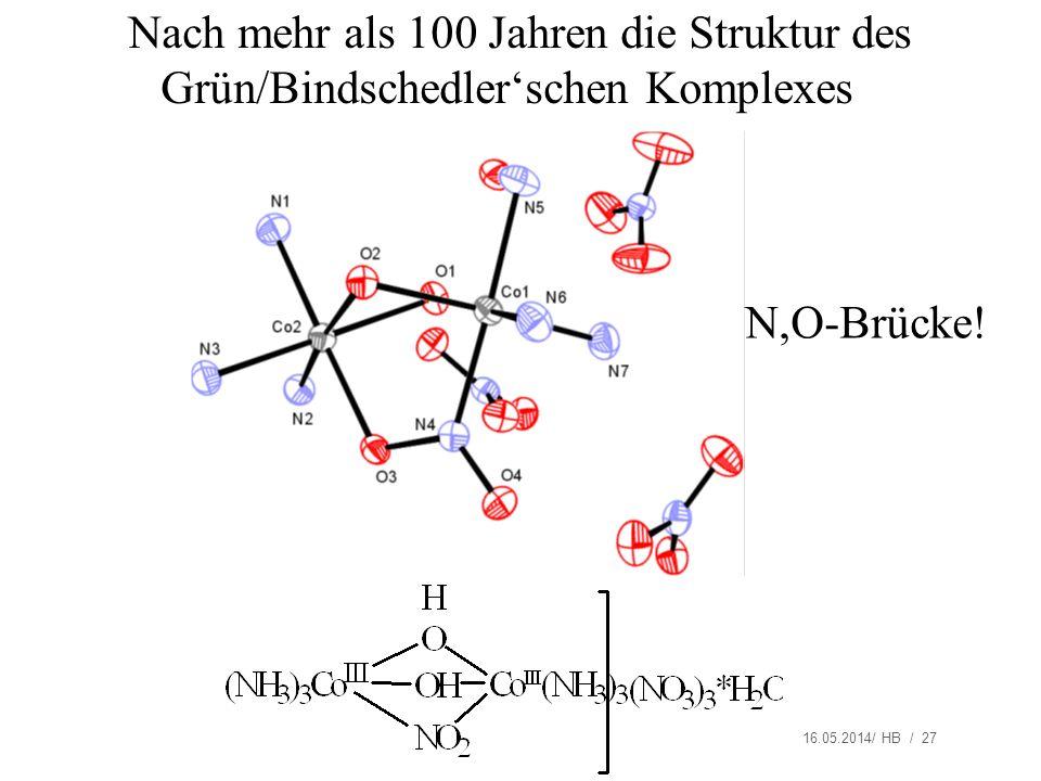 16.05.2014/ HB / 27 Nach mehr als 100 Jahren die Struktur des Grün/Bindschedlerschen Komplexes N,O-Brücke!