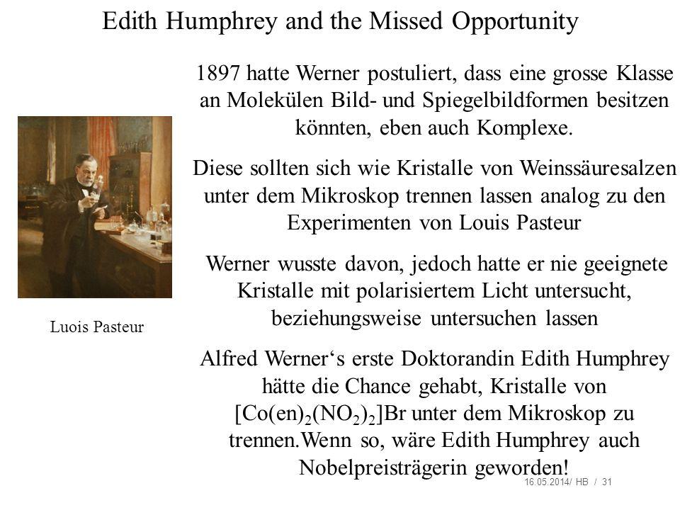 16.05.2014/ HB / 31 Edith Humphrey and the Missed Opportunity 1897 hatte Werner postuliert, dass eine grosse Klasse an Molekülen Bild- und Spiegelbildformen besitzen könnten, eben auch Komplexe.