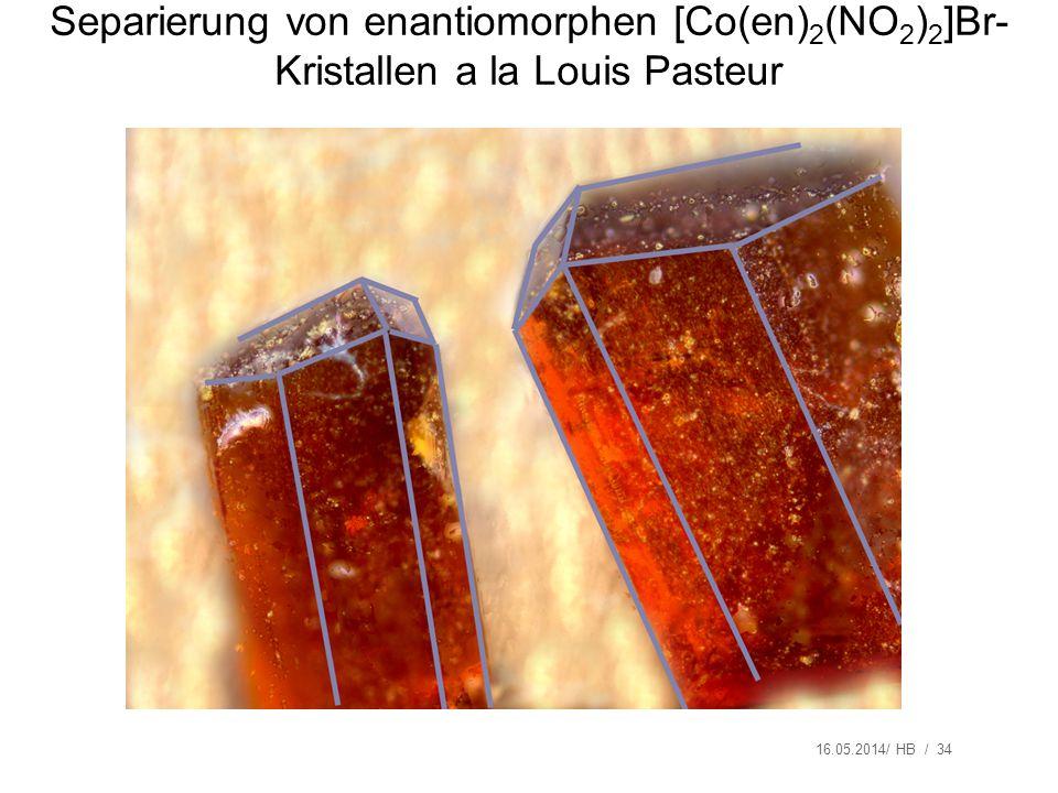 16.05.2014/ HB / 34 Separierung von enantiomorphen [Co(en) 2 (NO 2 ) 2 ]Br- Kristallen a la Louis Pasteur