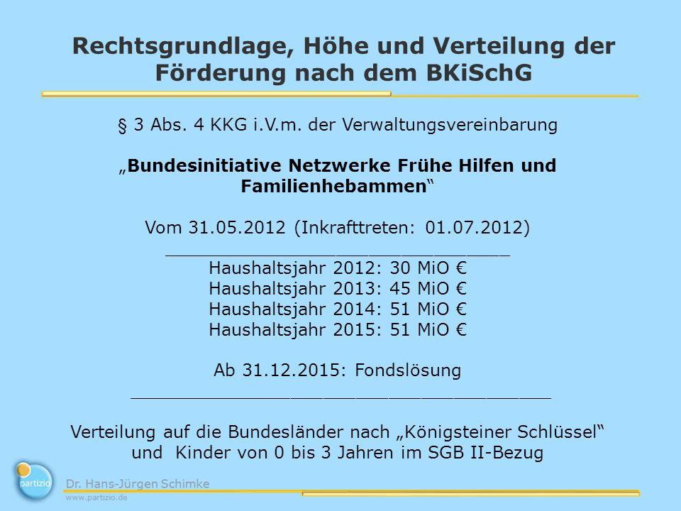 Rechtsgrundlage, Höhe und Verteilung der Förderung nach dem BKiSchG § 3 Abs. 4 KKG i.V.m. der Verwaltungsvereinbarung Bundesinitiative Netzwerke Frühe