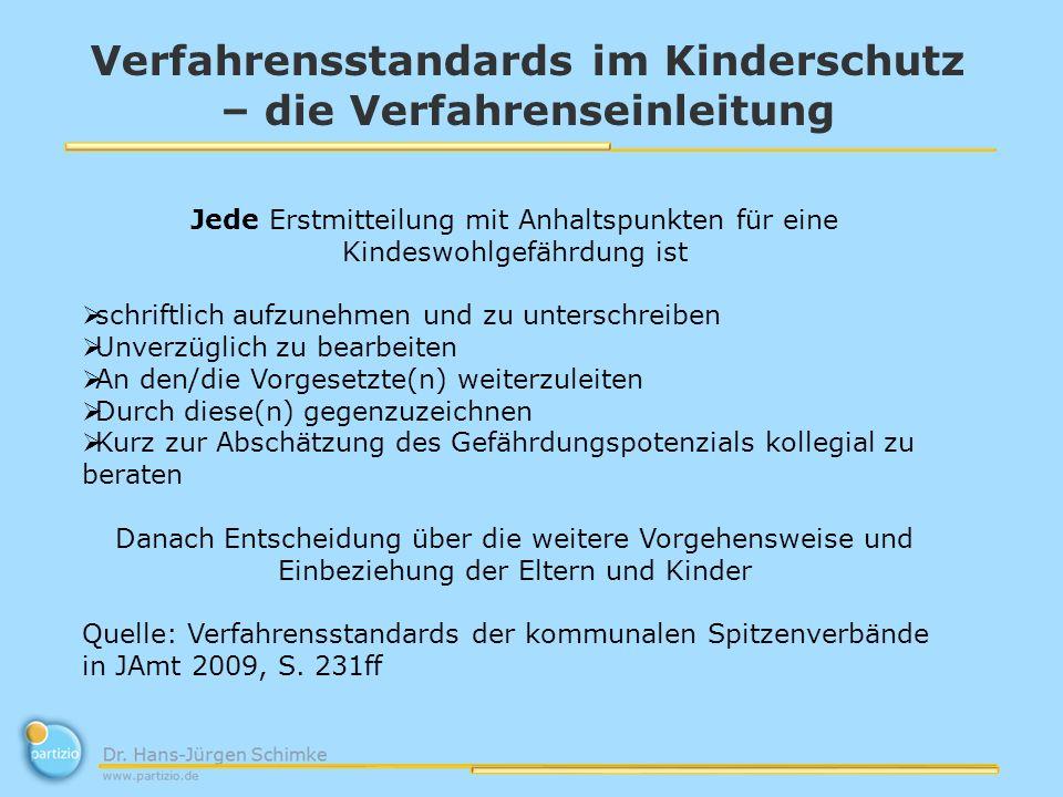 Verfahrensstandards im Kinderschutz – die Verfahrenseinleitung Jede Erstmitteilung mit Anhaltspunkten für eine Kindeswohlgefährdung ist schriftlich au