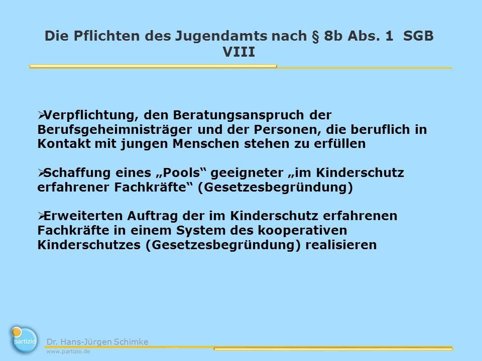 Die Pflichten des Jugendamts nach § 8b Abs.