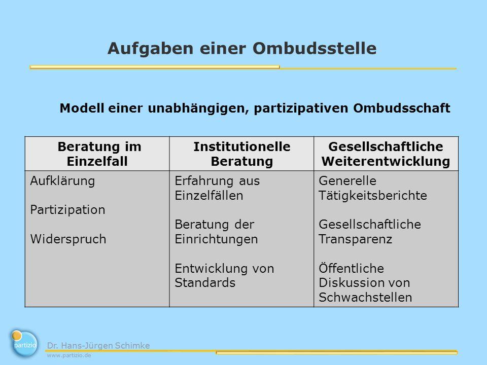 Aufgaben einer Ombudsstelle Modell einer unabhängigen, partizipativen Ombudsschaft Beratung im Einzelfall Institutionelle Beratung Gesellschaftliche W