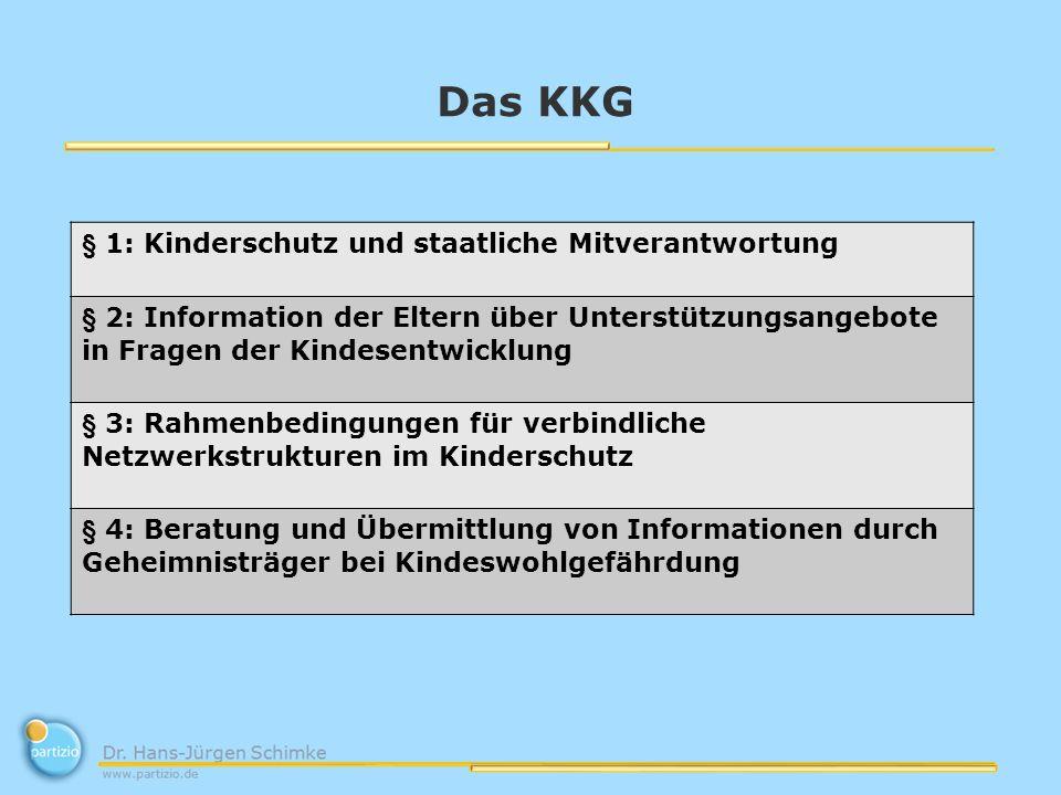 Das KKG § 1: Kinderschutz und staatliche Mitverantwortung § 2: Information der Eltern über Unterstützungsangebote in Fragen der Kindesentwicklung § 3: