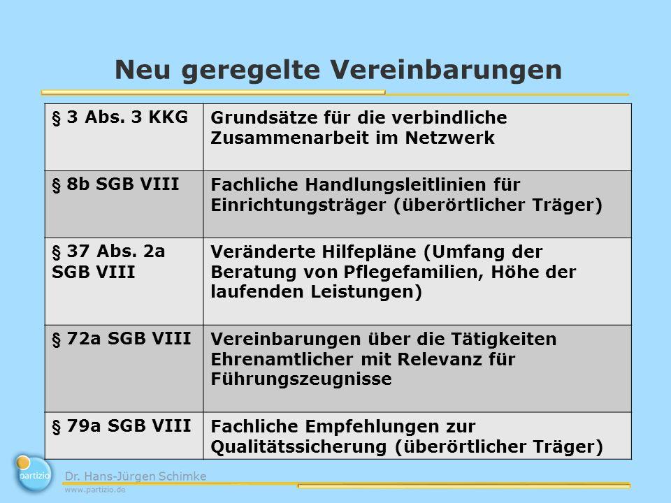 Neu geregelte Vereinbarungen § 3 Abs. 3 KKGGrundsätze für die verbindliche Zusammenarbeit im Netzwerk § 8b SGB VIIIFachliche Handlungsleitlinien für E