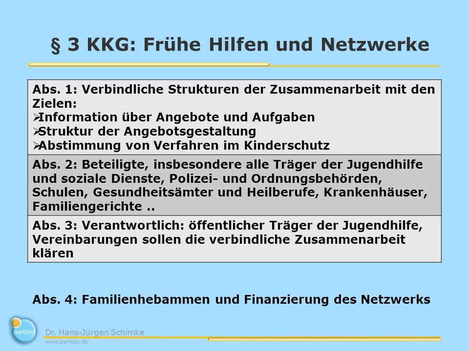 § 3 KKG: Frühe Hilfen und Netzwerke Abs. 1: Verbindliche Strukturen der Zusammenarbeit mit den Zielen: Information über Angebote und Aufgaben Struktur