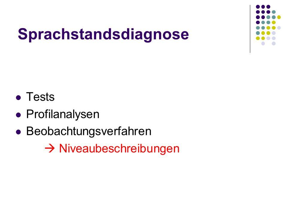 Sprachstandsdiagnose Tests Profilanalysen Beobachtungsverfahren Niveaubeschreibungen