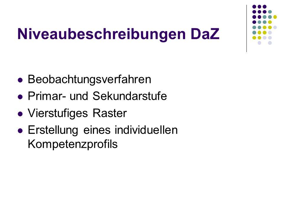 Niveaubeschreibungen DaZ Beobachtungsverfahren Primar- und Sekundarstufe Vierstufiges Raster Erstellung eines individuellen Kompetenzprofils
