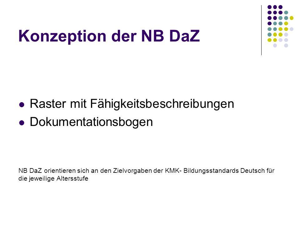 Konzeption der NB DaZ Raster mit Fähigkeitsbeschreibungen Dokumentationsbogen NB DaZ orientieren sich an den Zielvorgaben der KMK- Bildungsstandards D