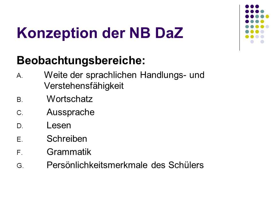 Konzeption der NB DaZ Beobachtungsbereiche: A. Weite der sprachlichen Handlungs- und Verstehensfähigkeit B. Wortschatz C. Aussprache D. Lesen E. Schre